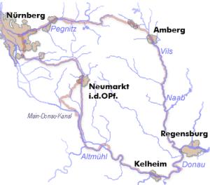 5 Flüsse-Radtour-Karte