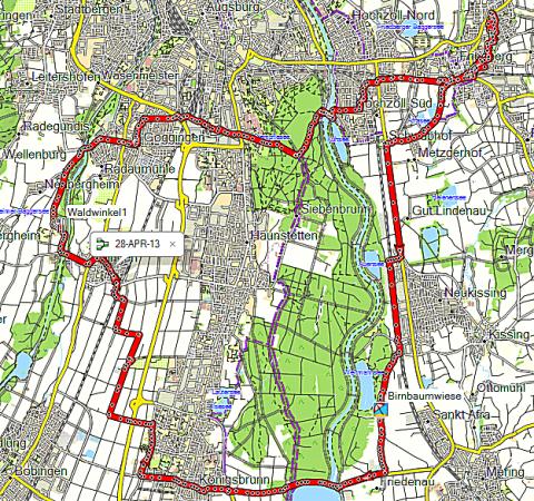 Route durch das Lechfeld