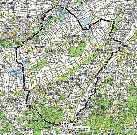 Route durch das Donauried