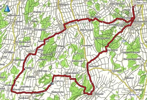 Tourverlauf Bad Wörishofen-Katzbrui-Dirlewang