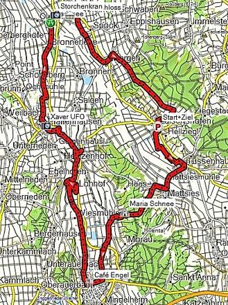 Tourverlauf Mindelheim - Pfaffenhausen - Kirchheim