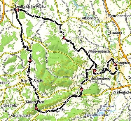Tourverlauf Allgäu Bahntrassen Kempten - Isny - Leutkirch