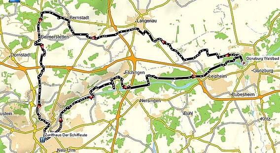 Streckenführung Donaumoos und Donauradweg