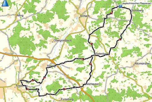 Wegstrecke durchs Wittelsbacher Land nach Rapperzell