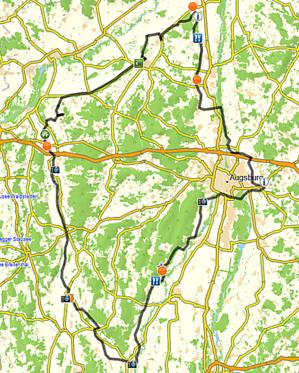 7 Schwaben Radweg, Tourverlauf