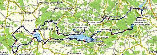 Tourenverlauf Fränkische Seenlandschaft