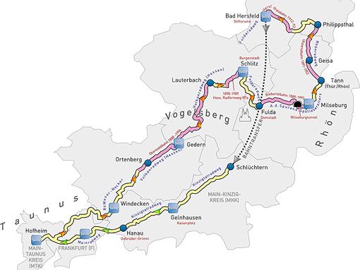 Etappenplan mit Bahnradwegen