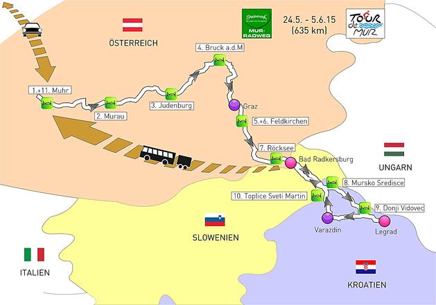 Tourverlauf Mur-Radweg